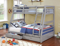 Gray Twin-Full Bunk Bed with Drawers FREE MATTRESSES