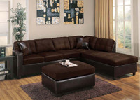 Milano Sectional with Ottoman. Chocolate Color.
