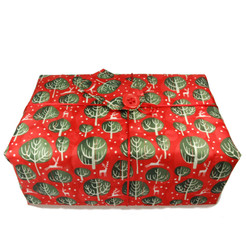 Large 'Crackle' fabric wrap in Red Berry.  Shown wrapped.