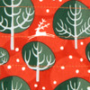 Fabric close-up.  Christmas Winter Trees print in Red Berry.