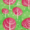 Fabric close-up - Winter Trees print in Neon Pink.