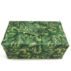 Large Crackle fabric wrap in Holly Green / Gold.  Shown wrapped.