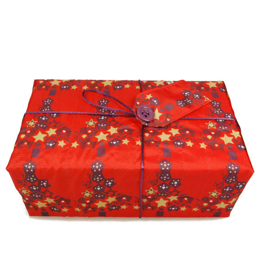 Large Crackle fabric wrap in Cranberry Red.  Shown wrapped.