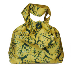 Medium fabric Gift Bag in Old Gold.  Used here to wrap a box (W23cm x H14cm x D14cm).