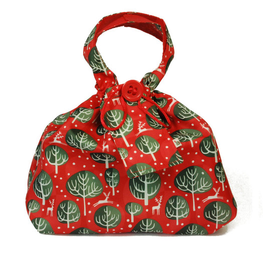 Medium fabric Gift Bag in Red Berry.  Used here to wrap a box (W23cm x H14cm x D14cm).