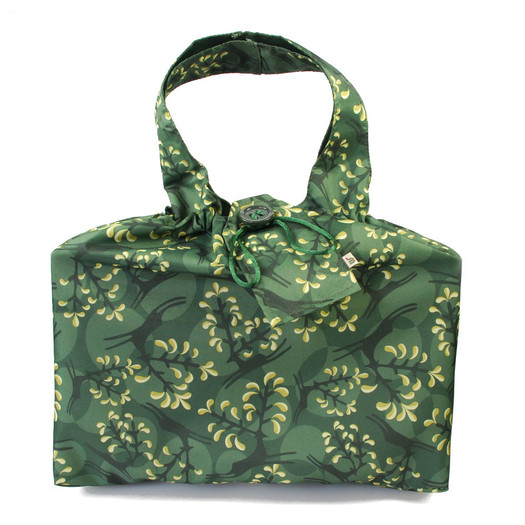 Large fabric Gift Bag in Holly Green / Gold.  Shown wrapping example gift.