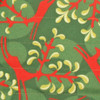 Fabric close-up - Christmas Reindeer print in Holly Green / Red.