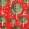 Fabric close-up - Christmas Winter Trees print in Red Berry.