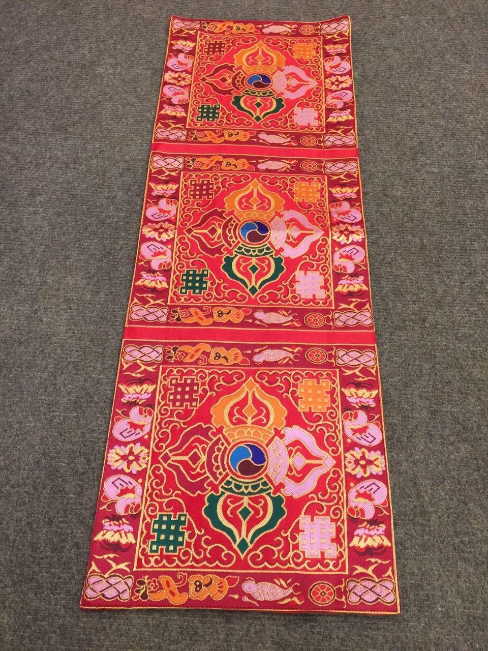 Tibetan Silk Brocade Red Double Dorji Small Table Runner / Table Cover
