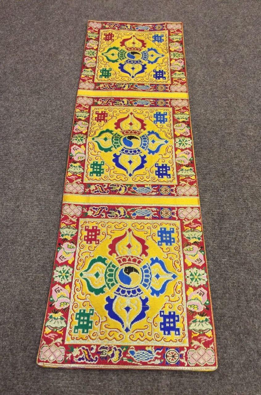 Tibetan Silk Brocade Yellow Double Dorji Small Table Runner / Table Cover
