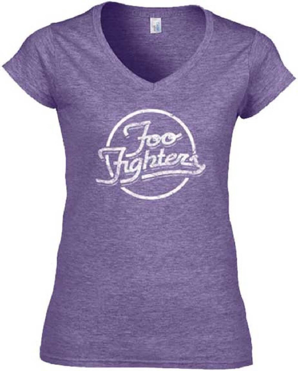 Foo fighters logo women 39 s purple vintage v neck t shirt for Old logo t shirts