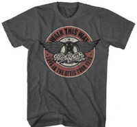 Aerosmith Toys in the Attic 1975 Walk This Way Tour Men's Gray Vintage Concert T-shirt