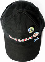 Iron Maiden Logo Black Baseball Cap with Eddie the Head Buttons -Top View