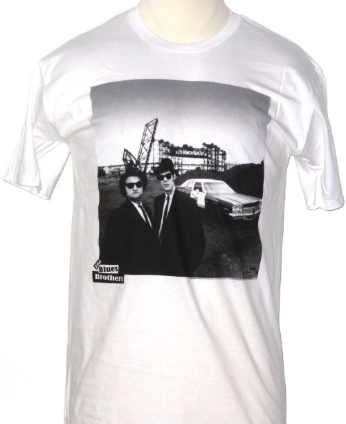 Blues Brothers T-shirt - Blues Brothers Movie Film Poster Artwork. Men's White Shirt.