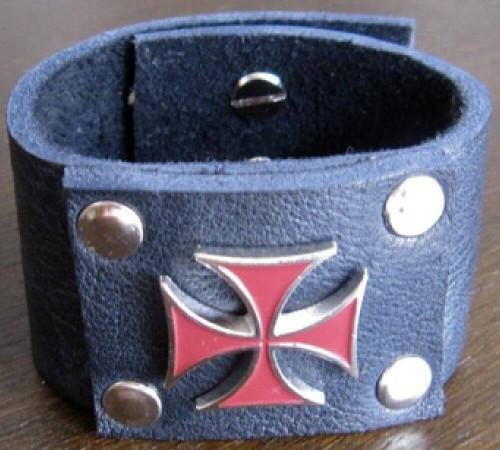 Rocker Rags Leather Cuff - Rocker Rags Black Leather Bracelet with Red Metal Iron Cross.