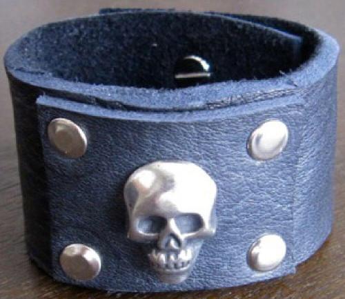 Rocker Rags Leather Cuff - Rocker Rags Black Leather Bracelet with Metal Skull.
