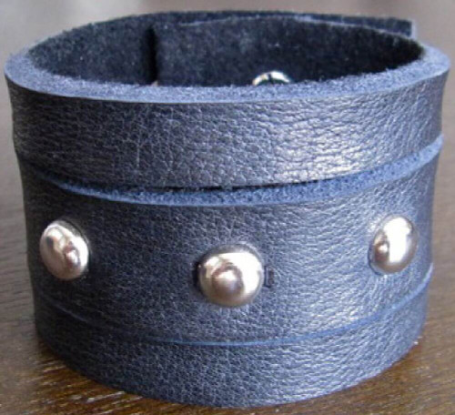 Rocker Rags Leather Cuff - Rocker Rags Black Leather Bracelet with Round Metal Studs | Horizontal