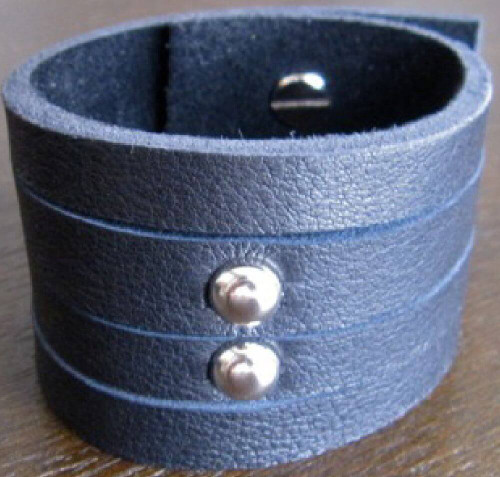 Rocker Rags Leather Cuff - Rocker Rags Black Leather Bracelet with Round Metal Studs | Vertical