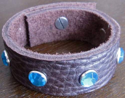 Rocker Rags Leather Bracelet - Rocker Rags Brown Leather Cuff. With Large Blue Crystals