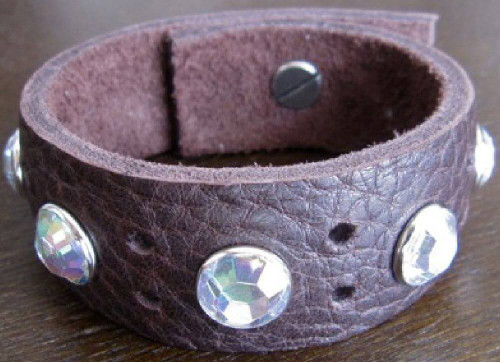 Rocker Rags Leather Bracelet - Rocker Rags Brown Leather Cuff | With Large White Crystals