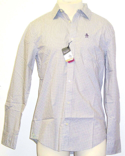 Original Penguin by Munsingwear Mistaken Identity Grey with Purple Polka Dots Men's Button Up Woven Shirt