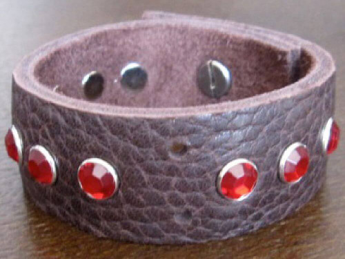 Rocker Rags Leather Bracelet - Rocker Rags Brown Leather Cuff with Red Crystals