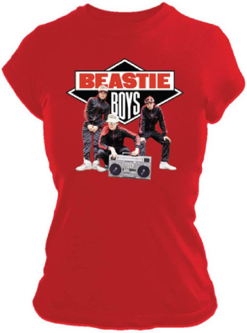 Beastie Boys T-shirt - Beastie Boys Logo with Band Members Photograph | Women's Red Shirt