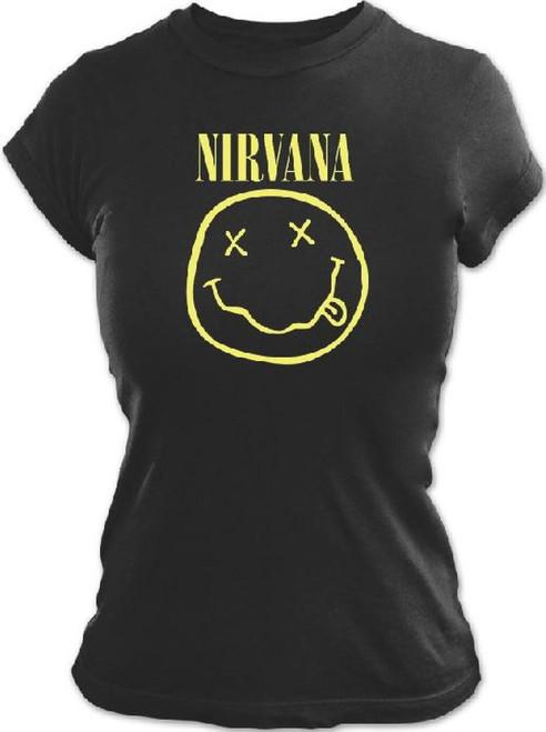 Nirvana T-shirt - Smiley Face Logo. Women's Black Shirt
