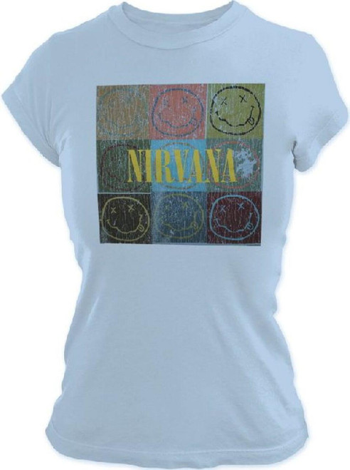 Nirvana Smiley Face Logo Vintage T-shirt - Nirvana Smiling Faces in Stacked Boxes   Women's Light Blue Shirt