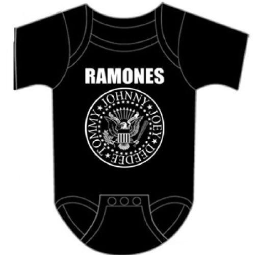 Ramones Infant Bodysuit - Ramones Presidential Seal Logo Baby Diaper Shirt   Black