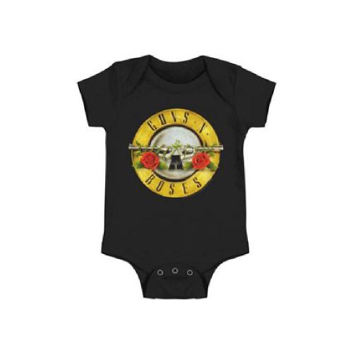 Guns N Roses Logo Infant Bodysuit - Guns N Roses Pistols and Flowers Logo Baby Diaper Shirt   Black