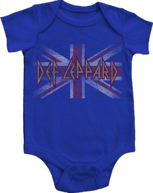 Def Leppard Infant Bodysuit - Union Jack British Flag Vintage Logo Baby Diaper Shirt   Blue