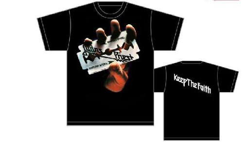 Judas Priest Album Cover Artwork T-shirt - British Steel with Keep the Faith Song Lyric. Men's Black Shirt