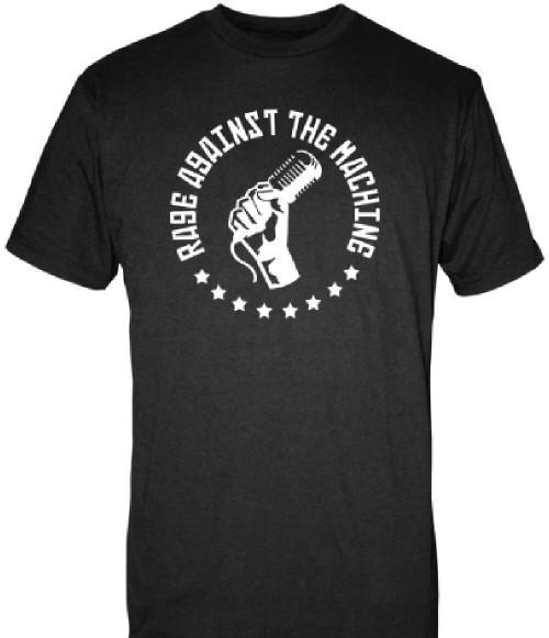Rage Against the Machine Logo T-shirt - Microphone in Fist. Men's Black Shirt