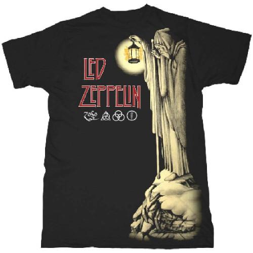 Led Zeppelin T-shirt - Hermit Artwork from Led Zeppelin IV Album Sleeve. Men's Black Shirt