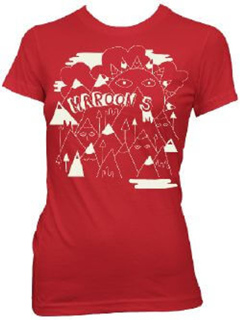 Maroon 5 Women's T-shirt - Maroon Five Mountains With Faces Logo | Red Shirt