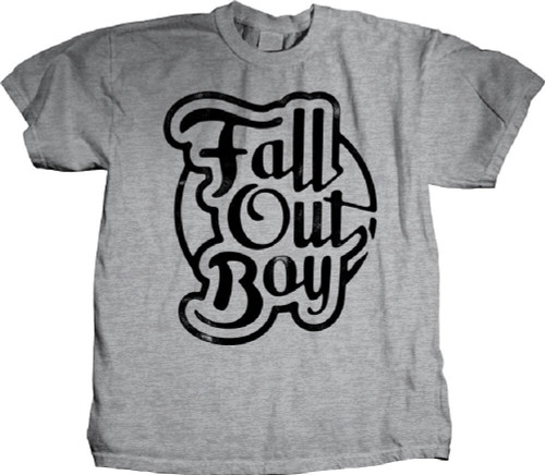Fall Out Boy T-shirt - Fall Out Boy Logo in Script. Men's Gray Shirt