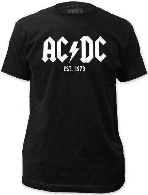 AC/DC Men's T-shirt - ACDC Established 1973 Logo. Black Shirt with White Logo