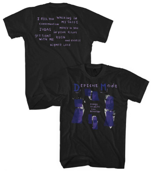 Depeche Mode Songs of Faith and Devotion T-shirt - Songs of Faith and Devotion Album Cover Artwork with Song Titles. Men's Black Shirt