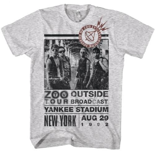 U2 Classic Concert T-Shirt - Zoo TV Tour New York Yankee Stadium August 29, 1992 Show. Men's White Vintage Shirt