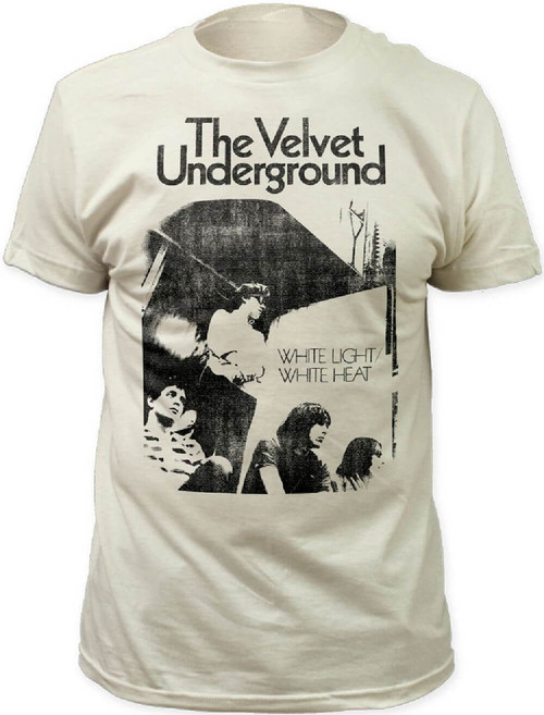 The Velvet Underground Vintage Album Cover T-shirt - White Light White Heat Back Album Cover Artwork. Men's White Shirt