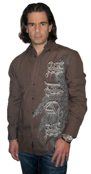 Roar Clothing Shirt - Rebel Spade with Roar Clothing Logo and Winged Spade Graphics. Men's Dark Gray Long Sleeve Button Up Shirt