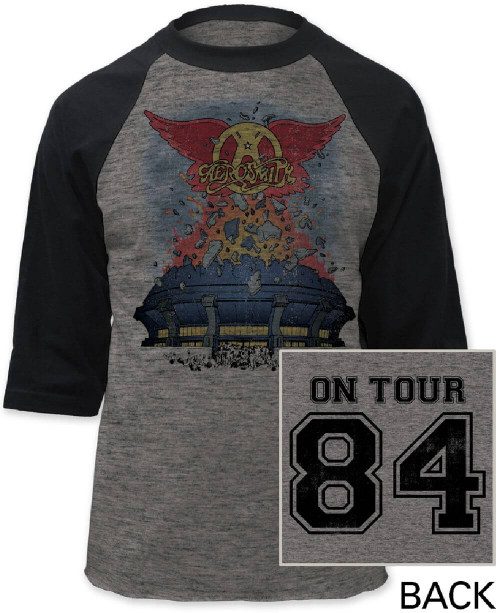 Aerosmith Vintage Concert T-shirt - Aerosmith 84 Tour. Gray Baseball Jersey Shirt