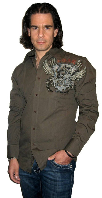 Roar Clothing Shirt - Glory Bound Winged Crest with Rhinestones. Men's Brown Long Sleeve Button Up Shirt