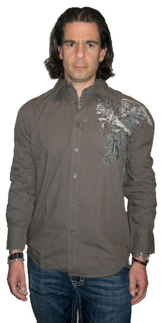 Roar Clothing Shirt - Men's Honor Griffin. Military Green Button Up Long Sleeve Graphics Shirt
