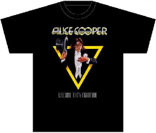 Alice Cooper T-shirt - Welcome to My Nightmare Album Cover Artwork. Men's Black Shirt