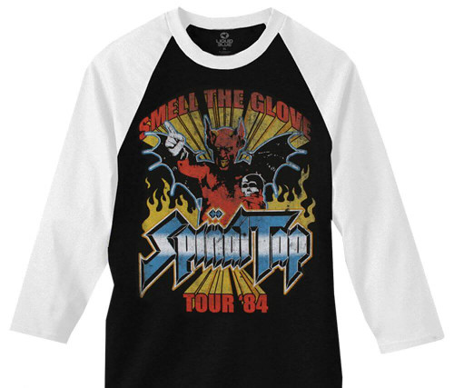 Spinal Tap Vintage T-shirt - Spinal Tap Smell the Glove Tour '84 | Black Baseball Jersey Shirt with White Sleeves