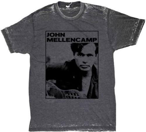 John Mellencamp Men's Vintage T-shirt - John Mellencamp Classic Photograph   Gray