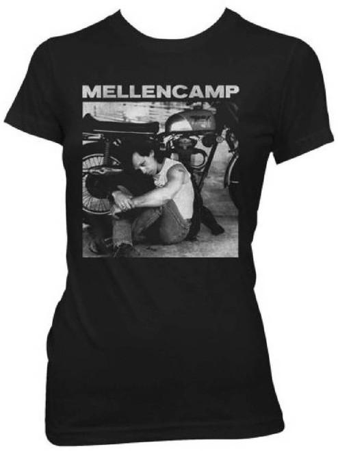 John Mellencamp Women's Vintage T-shirt - John Mellencamp with Motorcycle Classic Photograph. Black