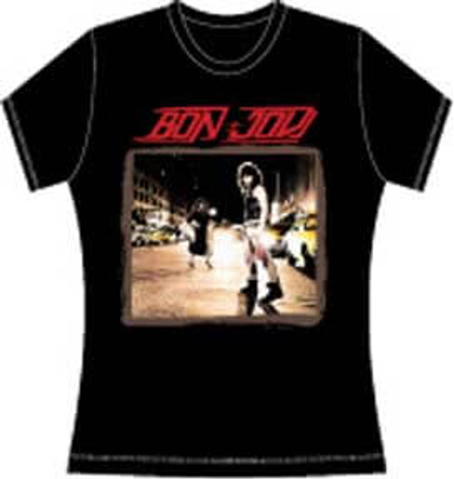 Bon Jovi Album T-shirt - Bon Jovi Debut Album Cover Artwork. Women's Black Shirt